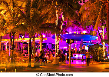 Ocean Drive scene at night, Miami