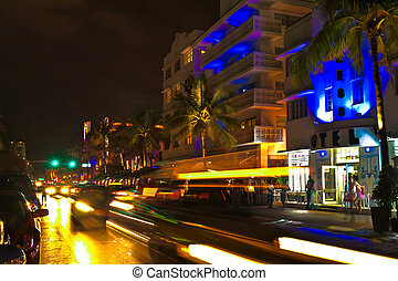 Ocean Drive scene at night, Miami - New York, USA - May 14,...