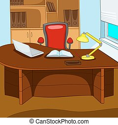 Office Place. Cartoon Background. Vector Illustration EPS...