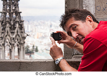 Tourist taking photo