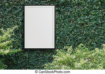 empty modern style frame 3d on Green leaves wall background