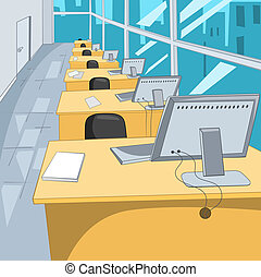 Office Place Cartoon Background Vector Illustration EPS 10...