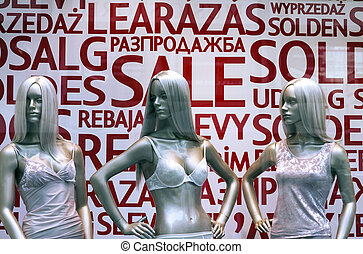 Three mannequins in lingerie