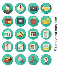 Financial and Business Icons - Set of 20 modern flat...