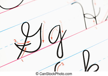 Cursive handwriting. - Close up of cursive handwriting...