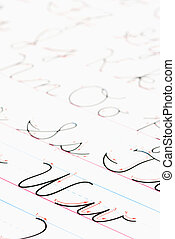 Cursive writing practice. - Close up of cursive handwriting...