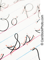 Cursive writing practice - Close up of cursive handwriting...