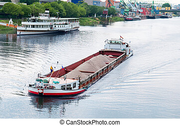 barge  on the river - barge and boat on the river