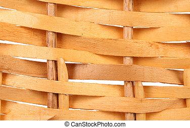Detail of interlaced rattan fibers.