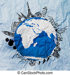 crumpled paper and traveling around the world as vintage...