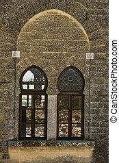 sinos, torre, larga, janelas, exterior