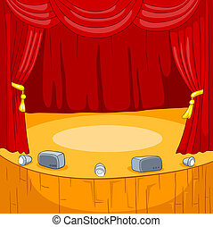 Theater Stage Cartoon - Theater Stage with Velvet Curtains...