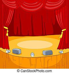 teatro, fase, caricatura