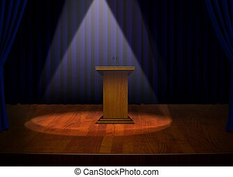 Podium on Stage with spotlights - Podium on Stage with...