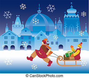 Children_and_christmas_town - Small girl pulling a boy with...