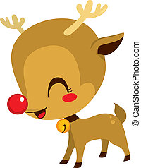 Cute Little Rudolph Reindeer - Illustration of cute little...