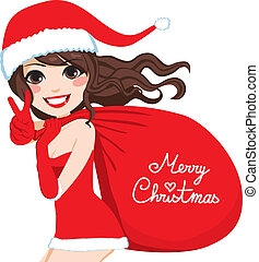Santa Woman Merry Christmas - Beautiful brunette Santa Claus...