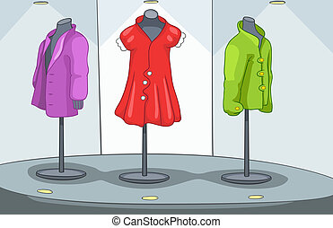 Shop Window with Mannequin Vector Cartoon Background