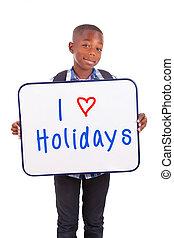 Menino, escola, segurando, pessoas, africano, -, isolado,...