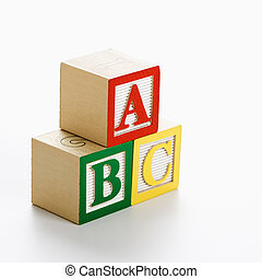 Toy ABC blocks. - ABC alphabet blocks stacked together.