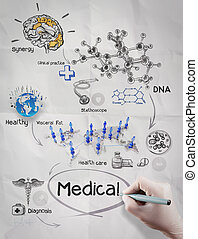 doctor hand draws medical network on crumpled paper