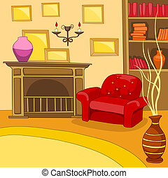 Room Cartoon. - Room Illustration. Vector Illustration. EPS...