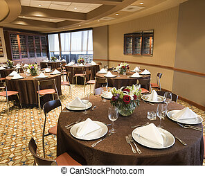 Empty restaurant dining room. - Restaurant interior with...