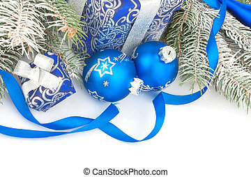 Christmas still life in blue - Christmas accessories in blue...