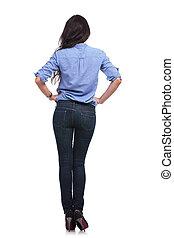 暫存工, 婦女, 背, 臀部, 手
