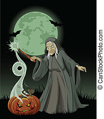 Halloween witch casts a spell