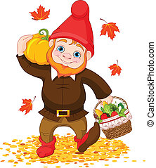 Garden Gnome with harvest - Illustration of cute Garden...
