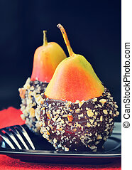 pears  with chocolate