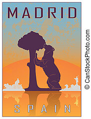 Madrid vintage poster in orange and blue textured background...