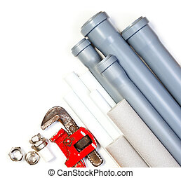 Plumbing supplies - Hard used red plumbing tool pipes and...