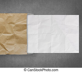 crumpled paper from recycle envelope background - crumpled...