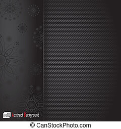 Realistic dark carbon background with floral texture. Vector illustration