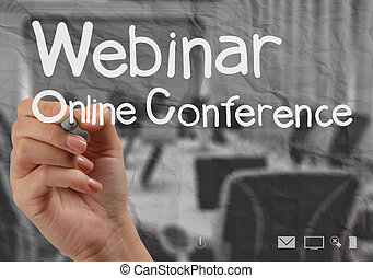 hand writing Webinar with crumpled paper background as...