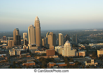 Charlotte, North Carolina - Aerial view of uptown buildings...