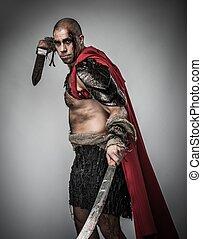 herido, gladiator, espada, cubierto, sangre, aislado, gris