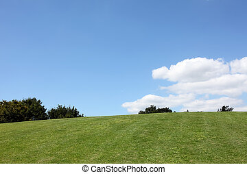 Green hill with blue sky - Green hill view with clear blue...