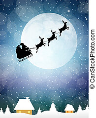 Sleigh of Santa Claus - illustration of Santa Claus sleigh
