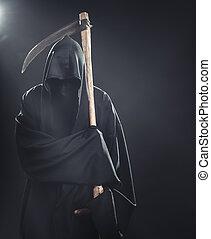muerte, guadaña, posición, Niebla, noche