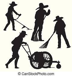 Silhouette of people gardening - grass cutter vector