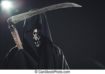 muerte, guadaña, posición, Oscuridad