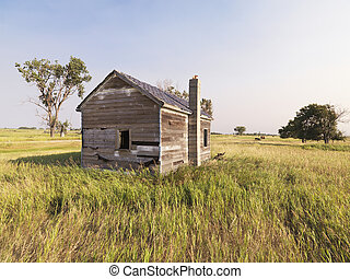 Dilapidated house in field. - Dilapidated wooden house in...