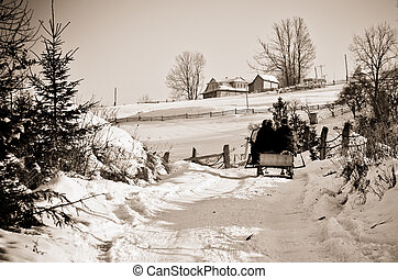 Snow road to home on the mountain in winter - monochrome