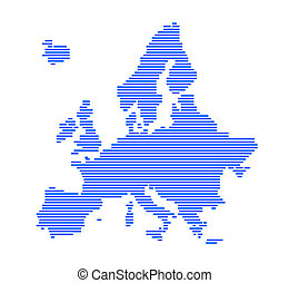 Europe silhouette with strips.