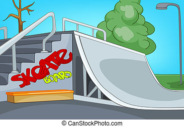 Skate Ramp Cartoon Background Vector Illustration EPS 10
