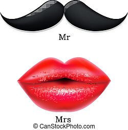 Moustaches With Lips, With Gradient Mesh, Vector...