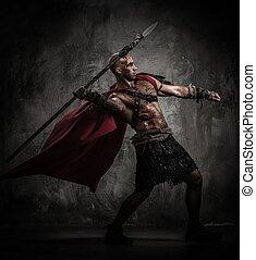 herido, gladiator, rojo, chamarra, lanzamiento, lanza